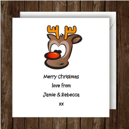 Personalised Christmas Card Rudolf 1 Single Card or Pack or 10